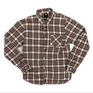 Stussy Mens Plaid Buddy Button Front Long sleeve